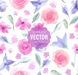 Watercolor rose seamless pattern. Vector illustration.