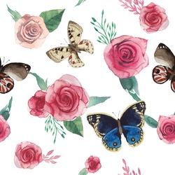 Watercolor roses and butterfly pattern. Seamless texture with hand painted flowers and leaves, various butterfly. Floral vintage background in vector