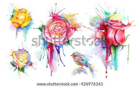 watercolor roses  set of vector