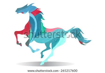 watercolor running horse