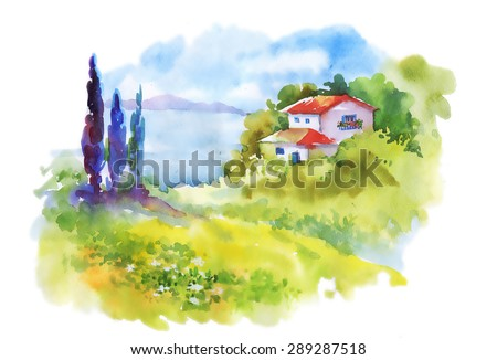 watercolor rural house in green