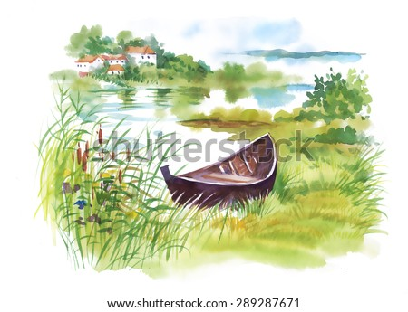 Watercolor rural Landscape with boat vector illustration