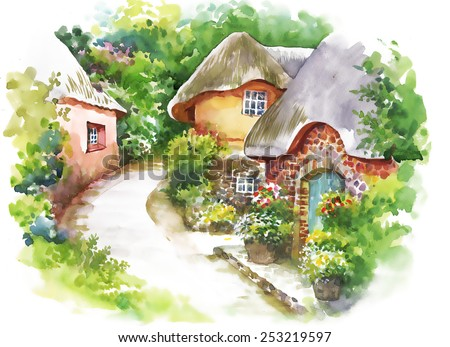 watercolor rural village in