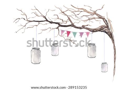 watercolor rustic party decor