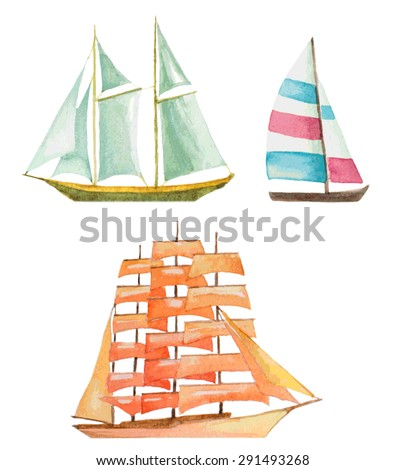 watercolor sailboats set