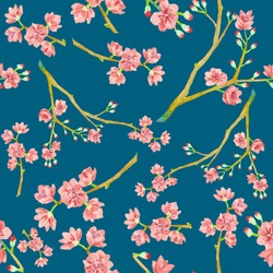 Watercolor sakura pattern. Seamless natural texture with blossom cherry tree branches. Hand drawn japanese flowers on dark blue background