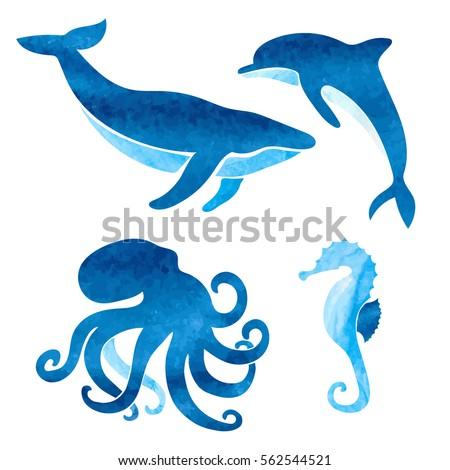 watercolor sea animals set