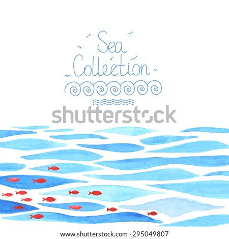 watercolor sea background with
