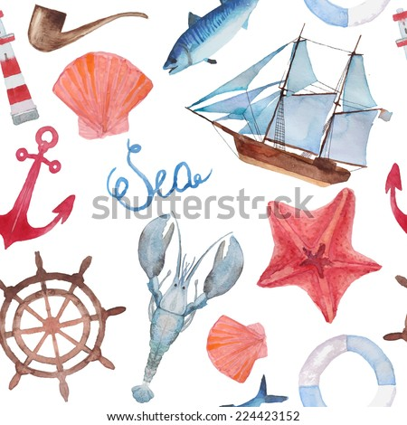 watercolor sea navigation
