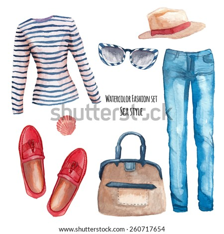 watercolor sea style fashion