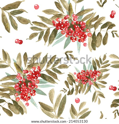 Stock Photo Watercolor seamless background with ash-berry Watercolor rowan