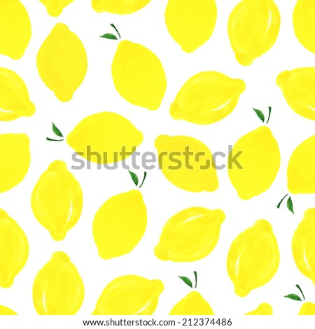 Watercolor seamless pattern with lemons on the white background. Vector illustration. Hand drawn background. - stock vector