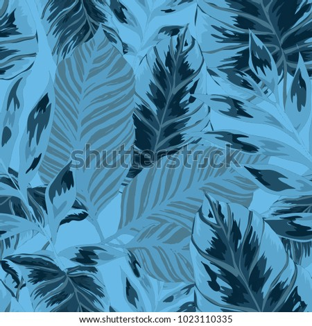 Watercolor Seamless Pattern With Tropical Leaves Palms Monstera Stunning Tropical Leaves Pattern
