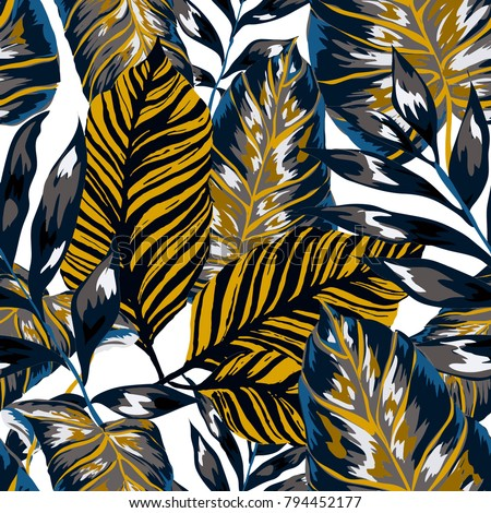 Watercolor seamless pattern with tropical leaves: palms, monstera, passion fruit. Beautiful allover print with hand drawn exotic plants. Swimwear botanical design. Vector.