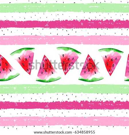 Watercolor seamless pattern with watermelon on striped background. Vector illustration