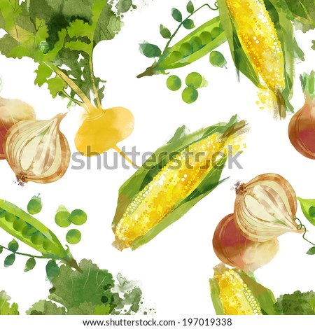 watercolor seamless vegetables pattern of turnip corn onion and peas on a white background