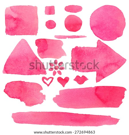 watercolor set of isolated on