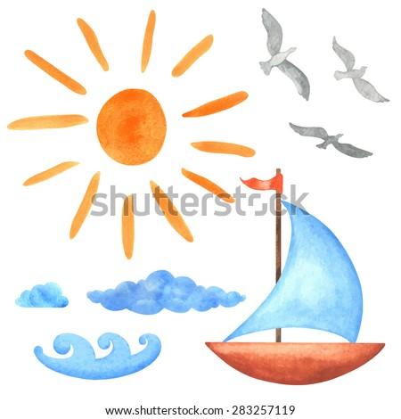 watercolor set sun  clouds