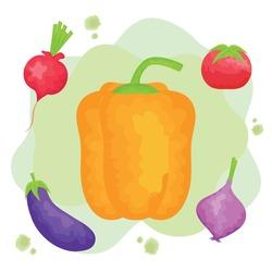watercolor set vegetables healthy food