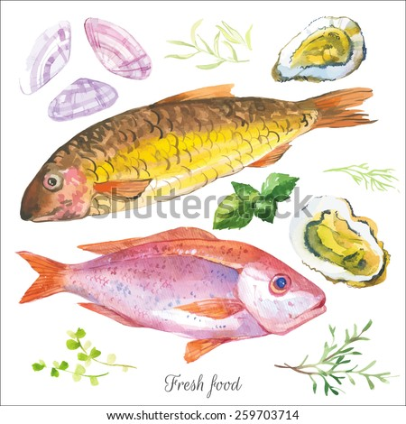 watercolor set with fish