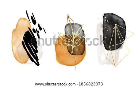 Watercolor shapes neutral Illustration with gold, isolated on white background. Abstract modern print. Beauty Logo minimalist vector design