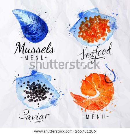 Watercolor signs seafood shrimp, caviar, mussels with lettering on crumpled paper
