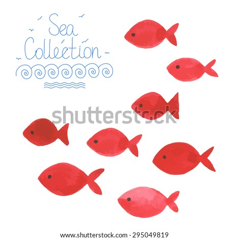 watercolor simple red fishes