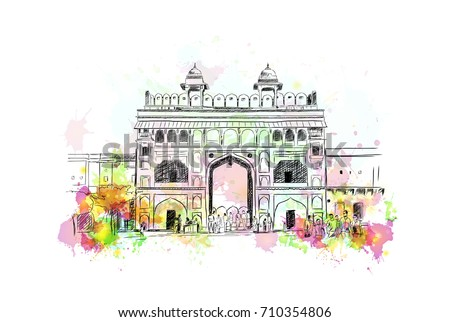 watercolor sketch of amer fort