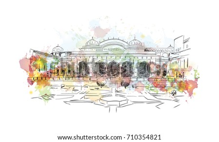 Watercolor sketch of Amer fort Jaipur India in vector illustration.