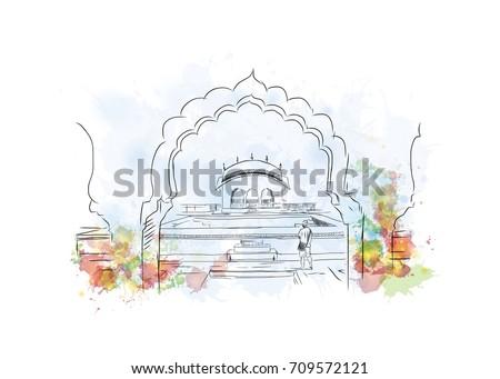 Watercolor sketch of Amer Fort Jaipur, Rajasthan, India in vector illustration.