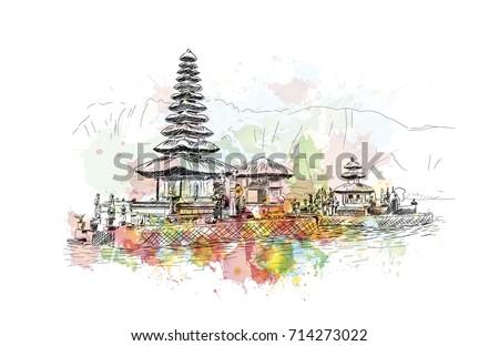 watercolor sketch of bali