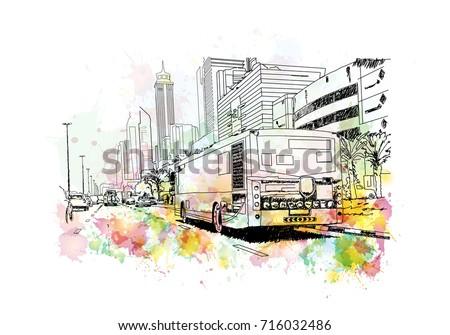 Watercolor sketch of Bus with Buildings Dubai in vector illustration.
