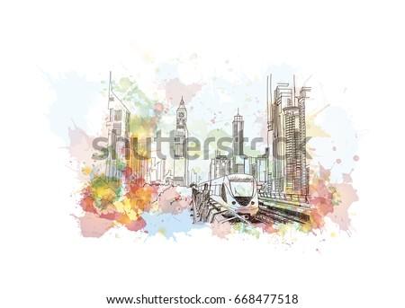 Watercolor sketch of Dubai metro in vector