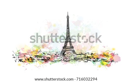watercolor sketch of eiffel