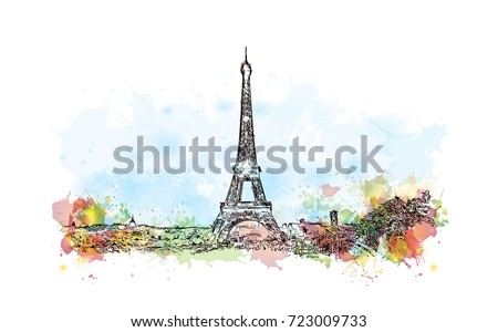 Watercolor sketch of Eiffel Tower Paris France in vector illustration.