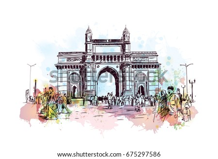 watercolor sketch of gateway of ...