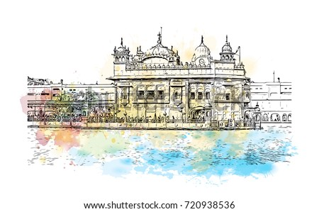 Watercolor sketch of Golden Temple Amritsar Punjab, India in vector illustration.