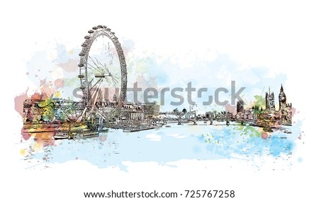 Watercolor sketch of London skyline, the capital of England and the United Kingdom in vector illustration.