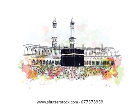 watercolor sketch of mecca in