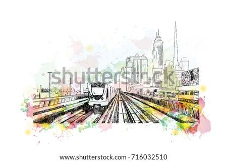 watercolor sketch of metro rail