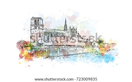 watercolor sketch of notre dame