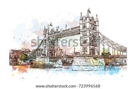 Watercolor sketch of Tower Bridge London, UK (United Kingdom, England) in vector illustration.