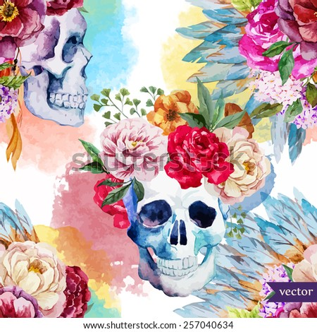 watercolor  skull  flowers