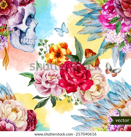 watercolor  skull  flowers