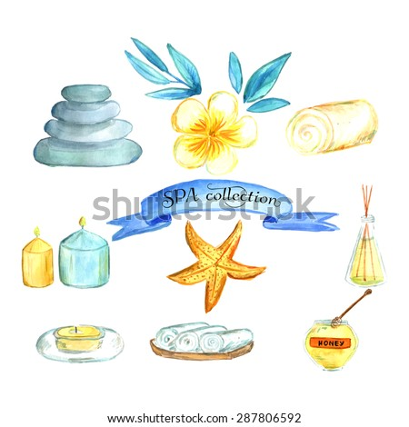 watercolor spa and wellness set