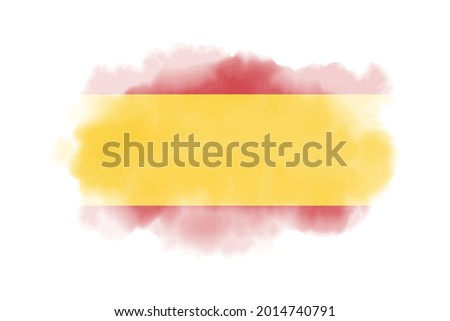 Watercolor Spain flag background. Vector.