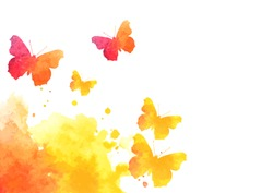 watercolor splash background with flying butterflies. vector illustration