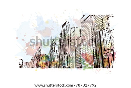 Watercolor splash with sketch of Hong Kong City Skyline and building view in vector illustration.