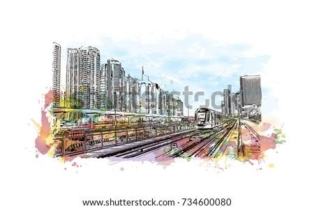 Watercolor splash with sketch of Tram Train Dubai UAE in vector illustration.