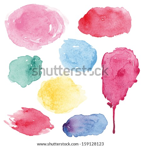 Watercolor splashes set in vector